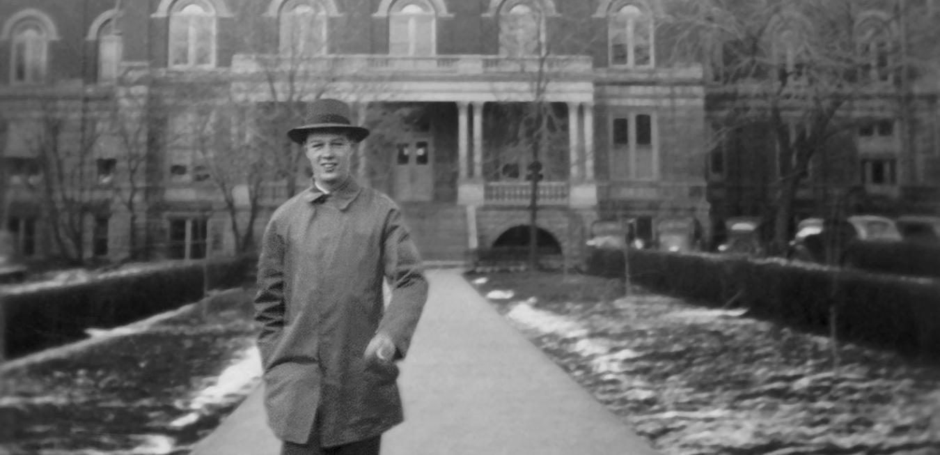 Image: Image of Bob Trulaske in front of Jesse Hall in 1940.