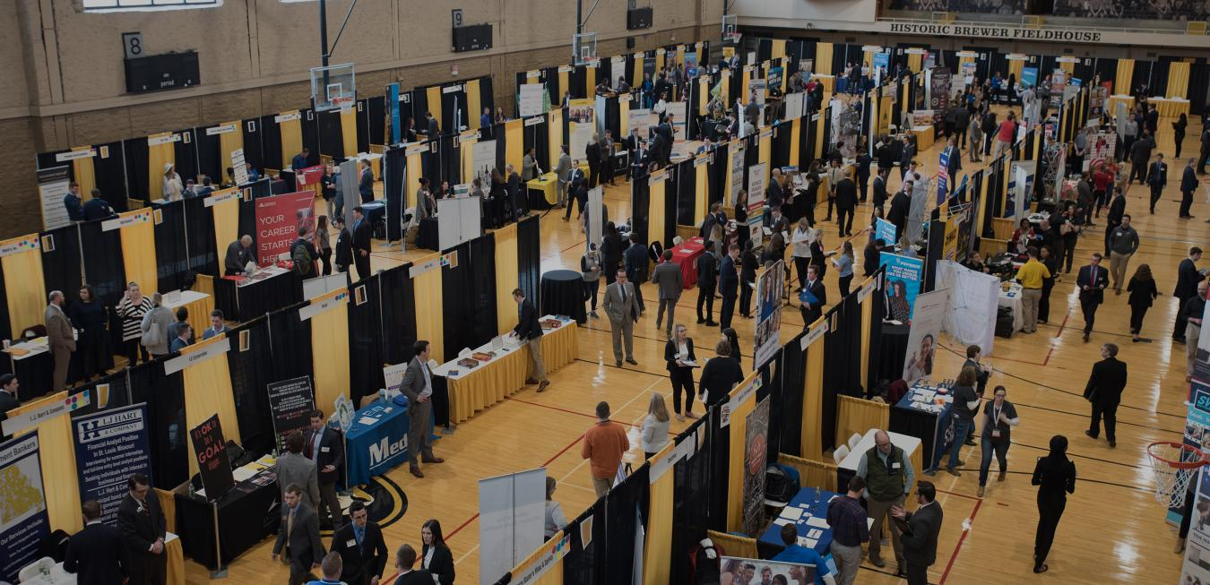 Image: Photo taken from above looking down onto career fair.