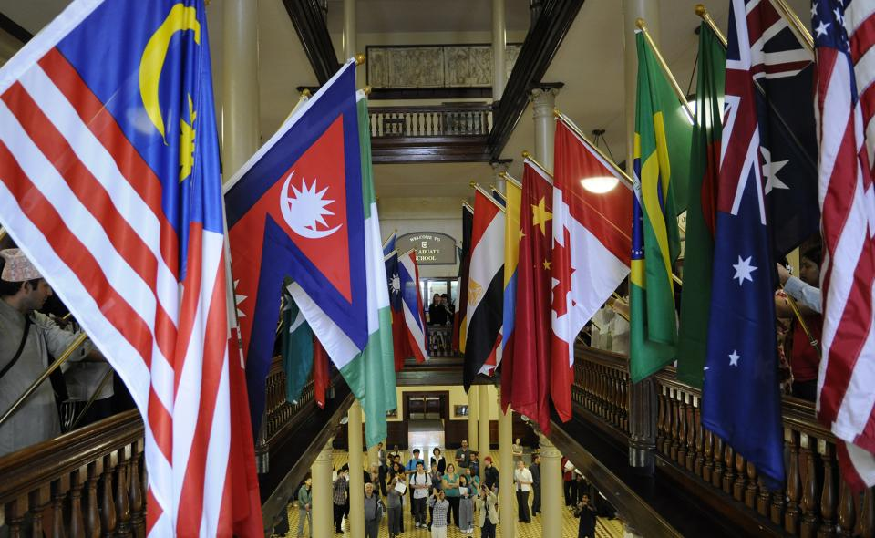 Image: Flags of the world hanging inside Jesse Hall.