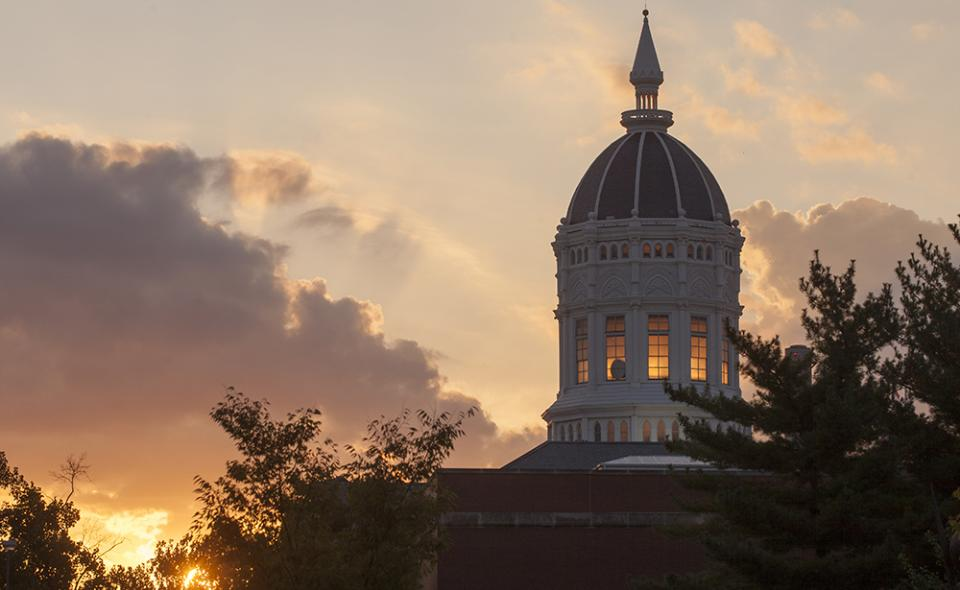 Image: Jesse Hall dome against the sunset.