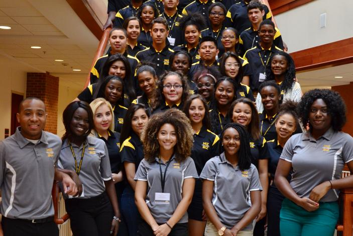 Image: 2015 Trulaske Business Academy student counselors with  high school students