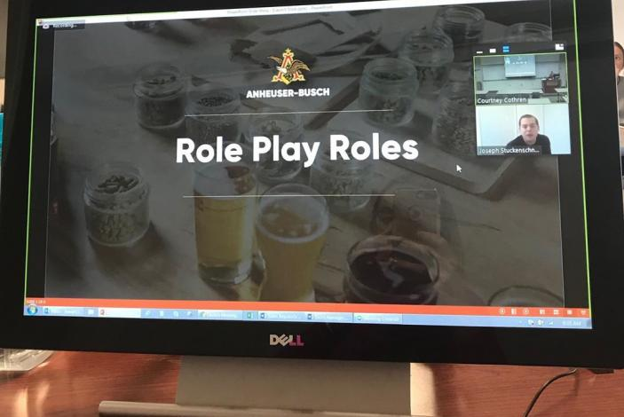 "Image: A photo of a computer screen displaying ""role play roles"" from the class."
