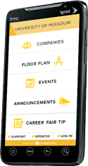Graphic: Phone with Career Fair+ App on the screen.