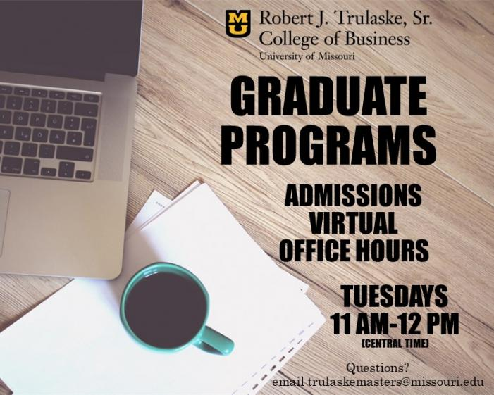 Virtual Admissions Office Hours - Tuesdays 11 am-12pm central time